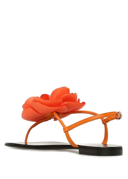 Peony Kırmızı Çiçek Detaylı Kadın Deri Sandalet