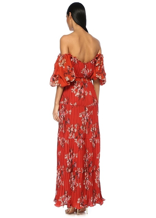 Viajes Del Alma Kırmızı Çiçekli Maksi İpek Elbise