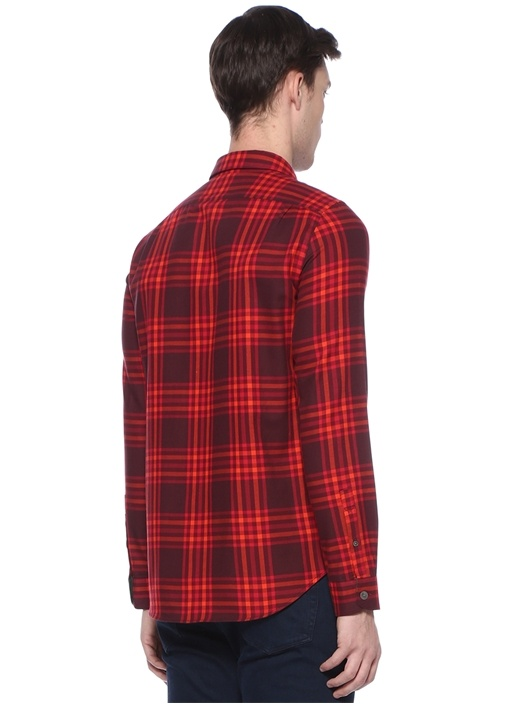 Tailor Fit Kırmızı Ekose Desenli Gömlek