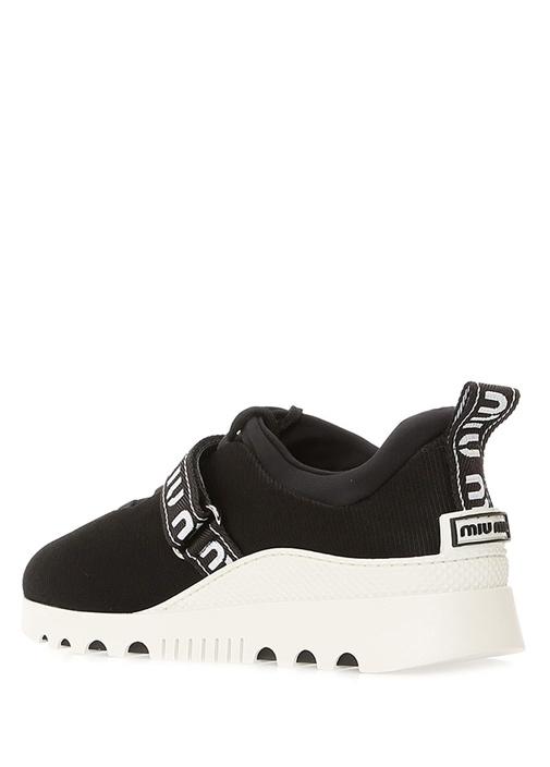Siyah Beyaz Logolu File Dokulu Kadın Sneaker