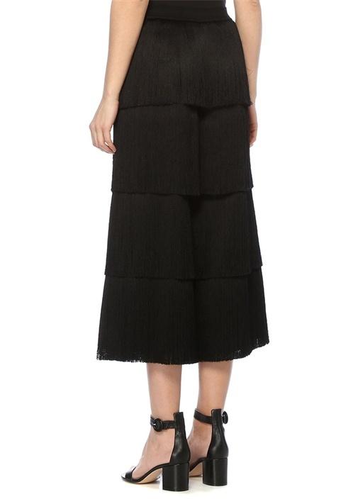 Siyah Yüksek Bel Cropped Püsküllü Yün Pantolon