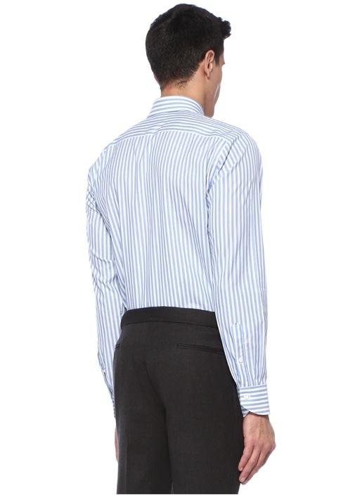 Mavi Beyaz Çizgili İngiliz Yaka Gömlek