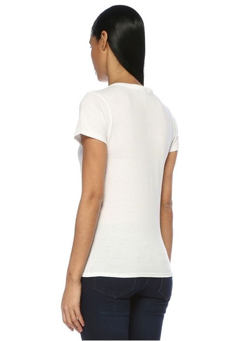 Beyaz Yeşil Dallas Baskılı T-shirt