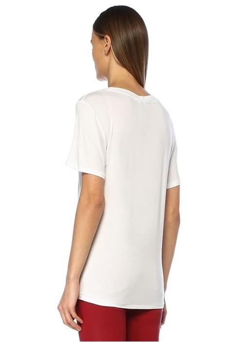 Ye Ye Beyaz Yazı Baskılı T-shirt