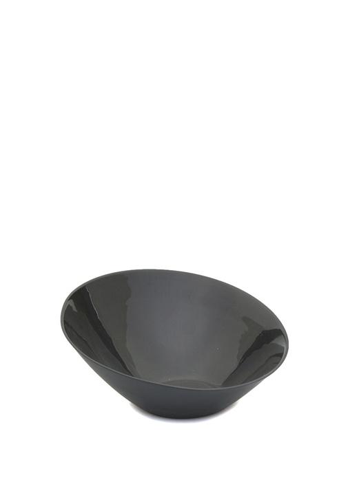 Oval Küçük Boy Siyah El Yapımı PorselenKase