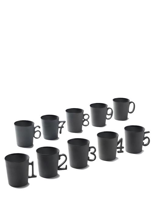 Siyah 0 Figürlü El Yapımı Porselen Kahve Fincanı
