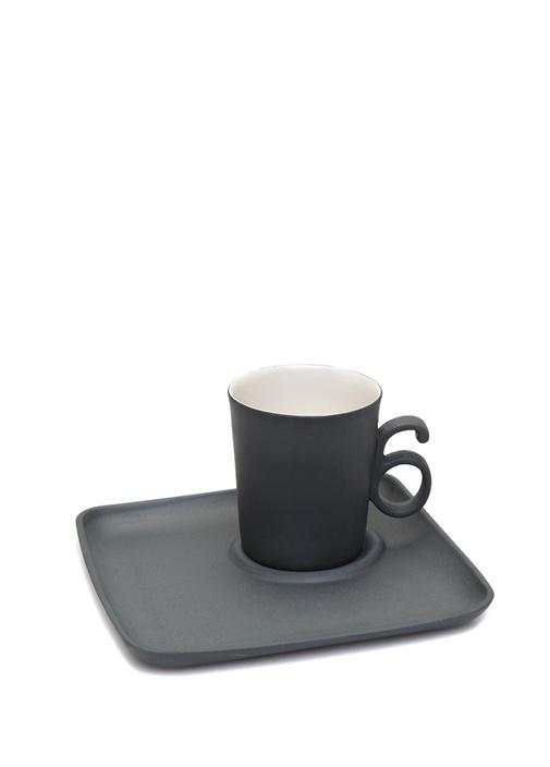 Siyah El Yapımı Porselen Kahve Fincanı Tabağı