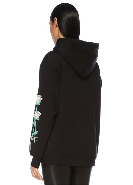 Real Lies Siyah Kapüşonlu Gül Baskılı Sweatshirt