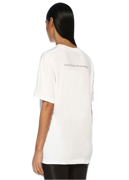 Nothing Beyaz Gül Baskılı Basic T-shirt