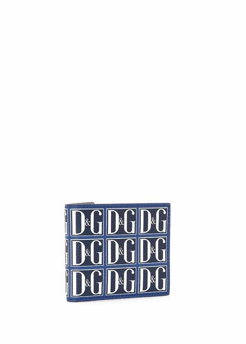 Lacivert Logo Baskılı Erkek Deri Cüzdan