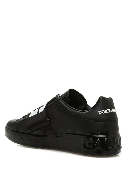 Portofino Siyah Logolu Erkek Deri Sneaker