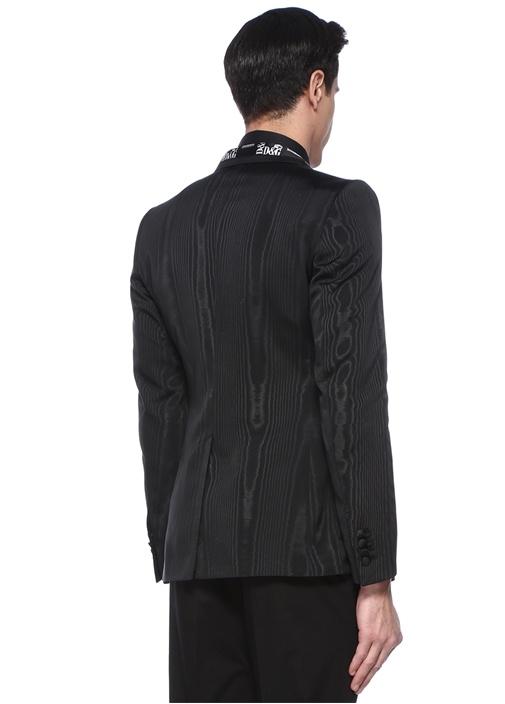 Drop 7 Siyah Logo Garnili Kırlangıç Yaka Ceket