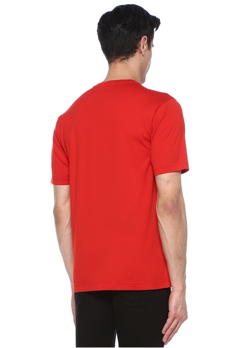 Kırmızı Siyah Bisiklet Yaka Logolu Basic T-shirt