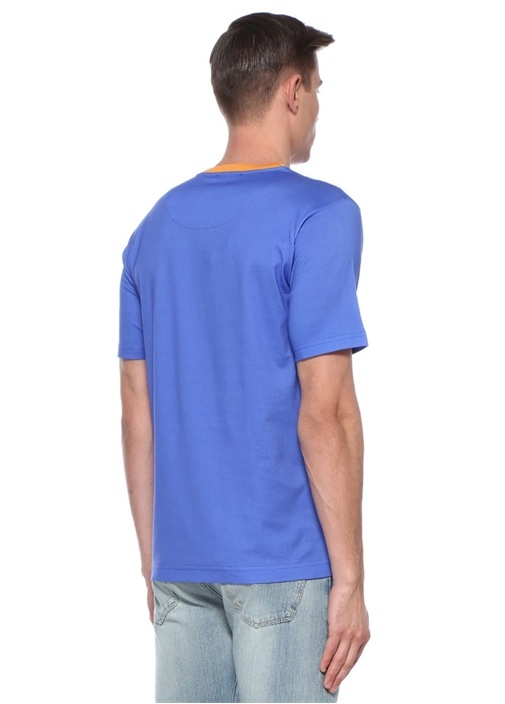 Mavi Turuncu Bisiklet Yaka Baskılı T-shirt