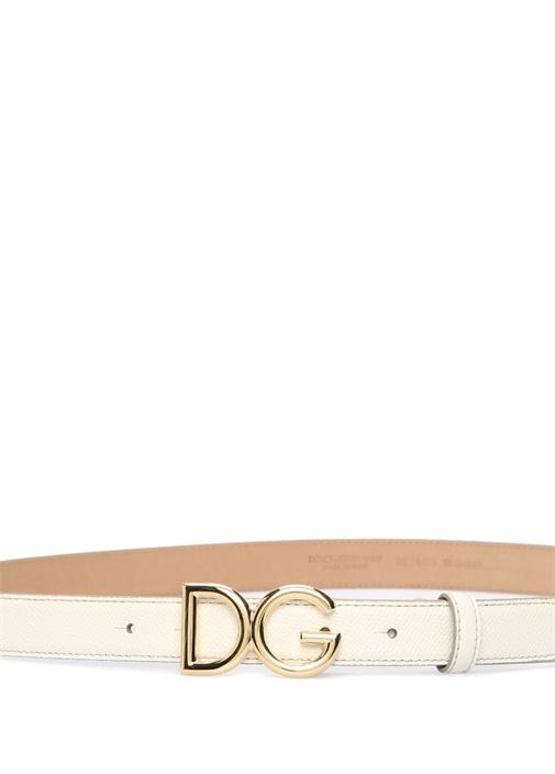 Beyaz Gold Logo Tokalı Kadın Deri Kemer