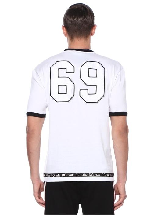 Beyaz Patchli Logolu Basic T-shirt