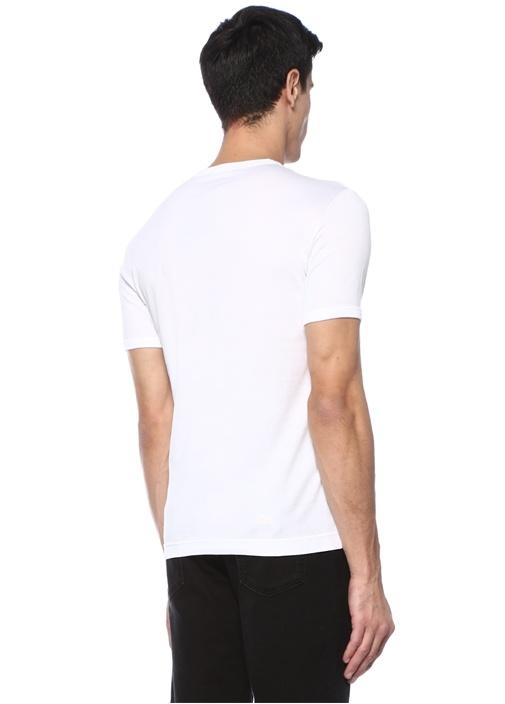 Beyaz Bisiklet Yaka Panda Baskılı BasicT-shirt