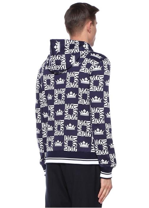 Lacivert Kapüşonlu Logo Baskılı Sweatshirt