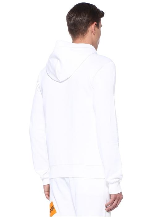 Beyaz Logo Baskılı Kapüşonlu Sweatshirt