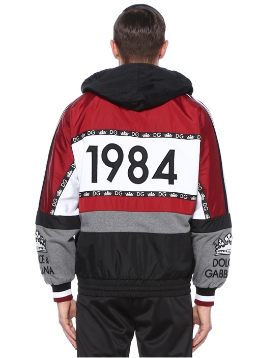 Siyah Kapüşonlu Colorblocked Logolu Sweatshirt