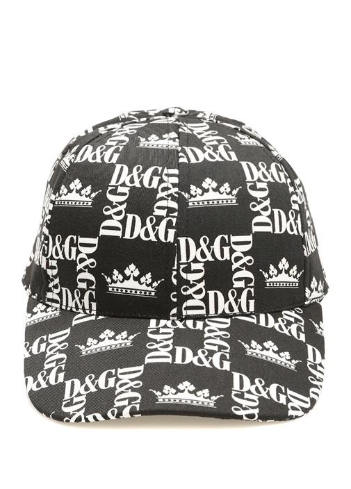 Siyah Beyaz Logo Baskılı Erkek Şapka