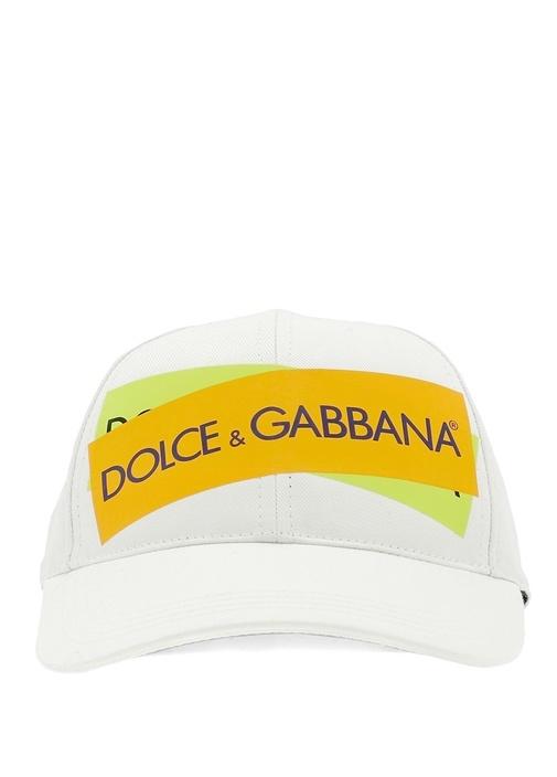 Beyaz Logo Baskılı Erkek Şapka