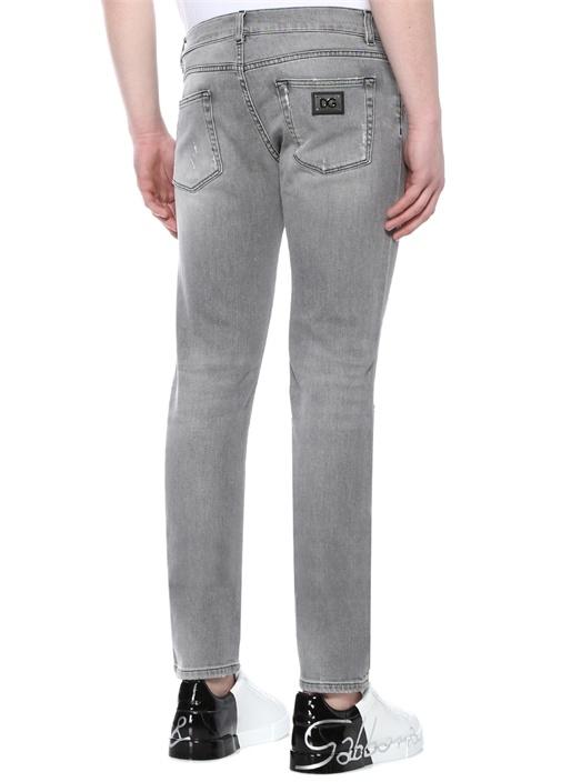 Skinny Fit Gri Normal Bel Yıpratmalı Jean Pantolon