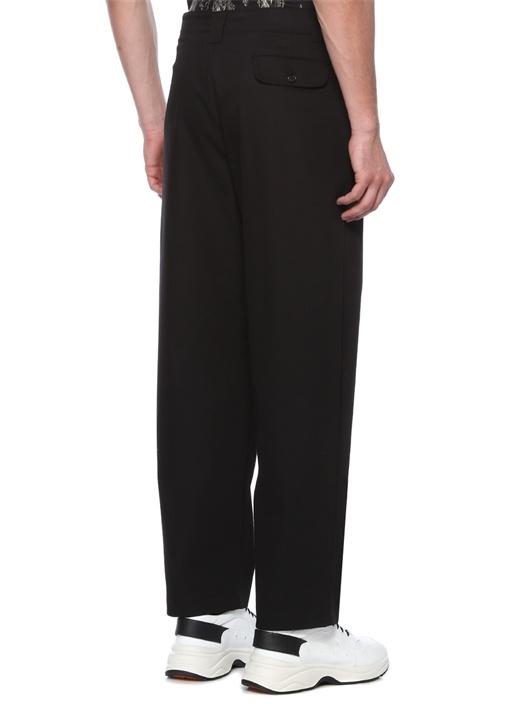 Siyah Yüksek Bel Bol Paça Pileli Pantolon