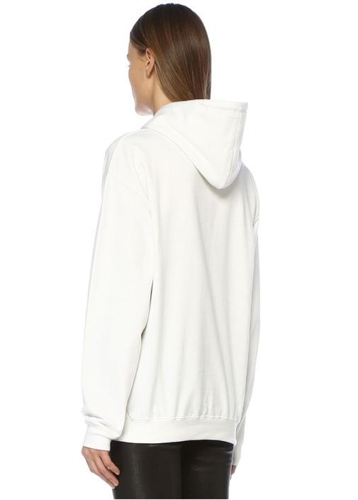 Teen Spirit Beyaz Kapüşonlu Sweatshirt