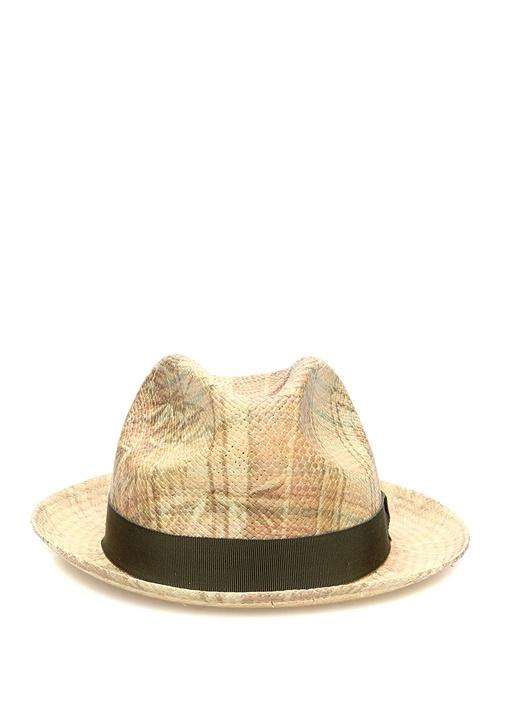 Yeşil Kemer Detaylı Hasır Dokulu Erkek Şapka
