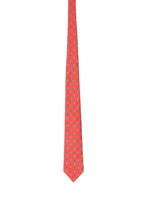 Kırmızı Desenli Hayvan Baskılı İpek Kravat