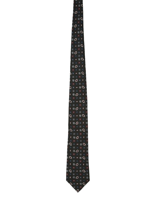 Siyah Mikro Şal Desenli İpek Kravat