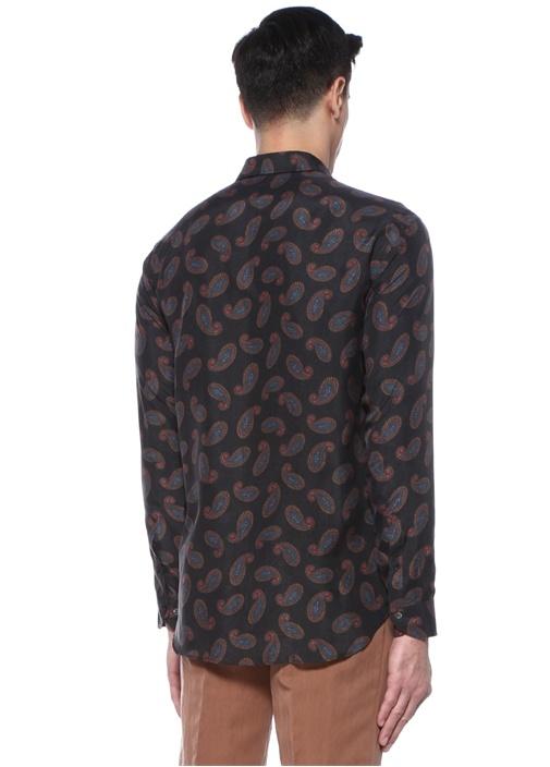 Siyah İngiliz Yaka Etnik Desenli İpek Gömlek