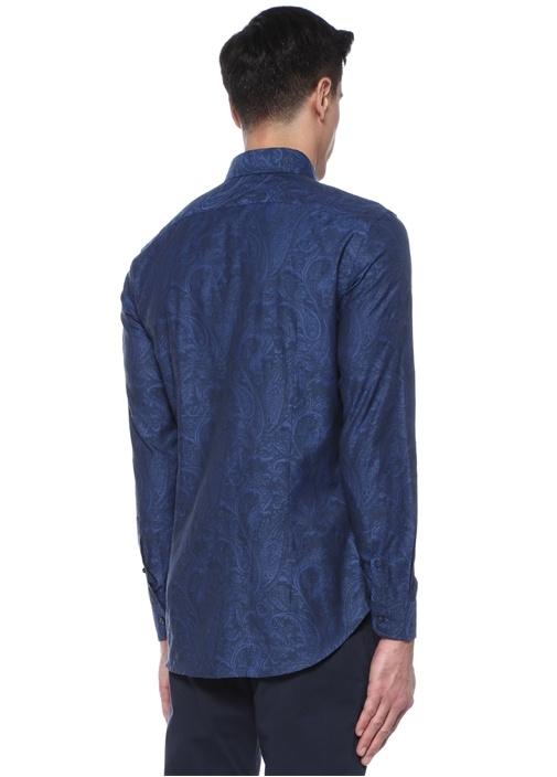 Mavi Şal Desenli Düğmeli Yaka Gömlek