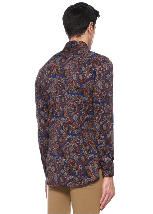 Lacivert İngiliz Yaka Çiçek Desenli Gömlek