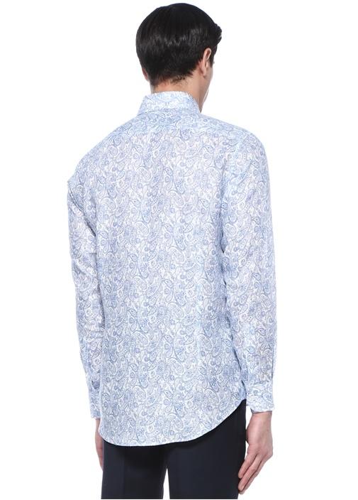 Mavi Beyaz Etnik Desenli Düğmeli Yaka Keten Gömlek