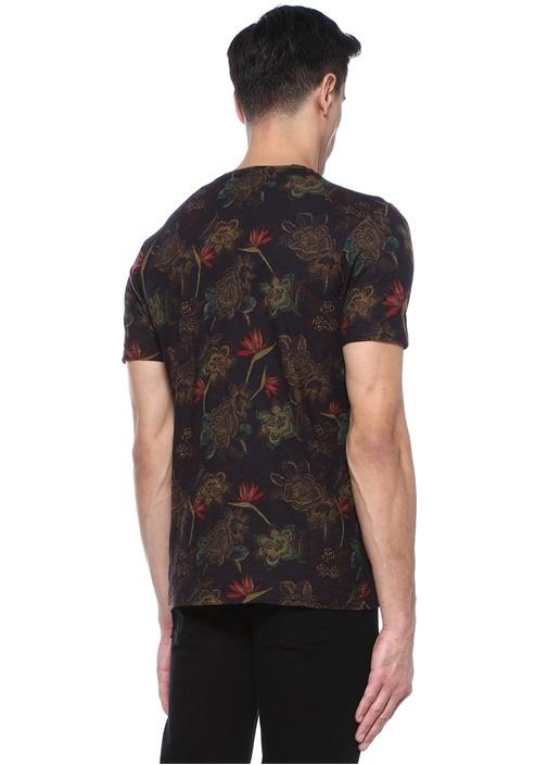 Siyah Bisiklet Yaka Çiçekli Basic T-shirt