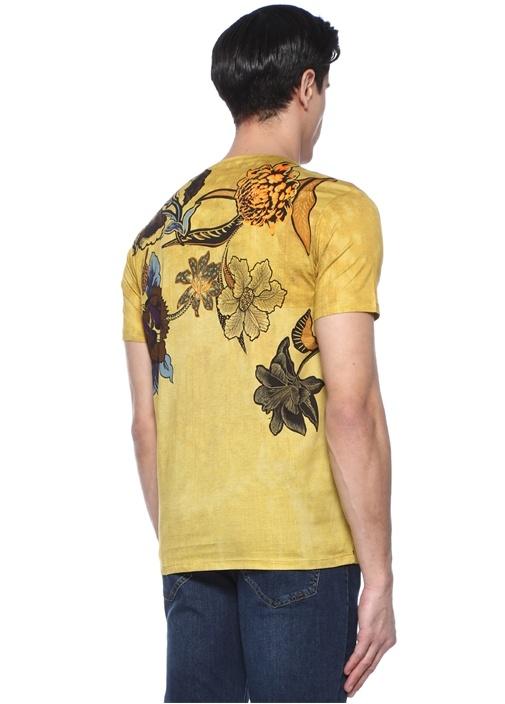 Sarı Bisiklet Yaka Çiçek Baskılı Basic T-shirt