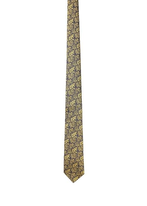 Sarı Lacivert Mikro Etnik Desenli İpek Kravat