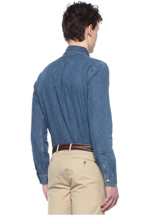 Slim Fit Mavi Düğmeli Yaka Logolu DenimGömlek