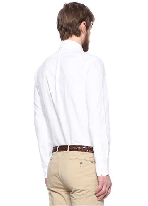 Slim Fit Beyaz Logo Nakışlı Düğmeli Yaka Gömlek