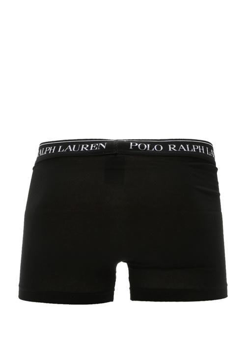 3lü Siyah Logolu Klasik Streç Boxer Seti