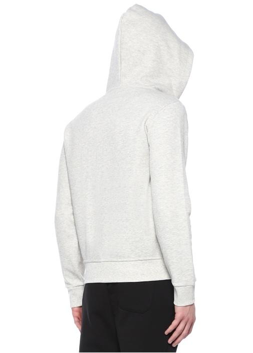 Performance Gri Kapüşonlu Logo Nakışlı Sweatshirt