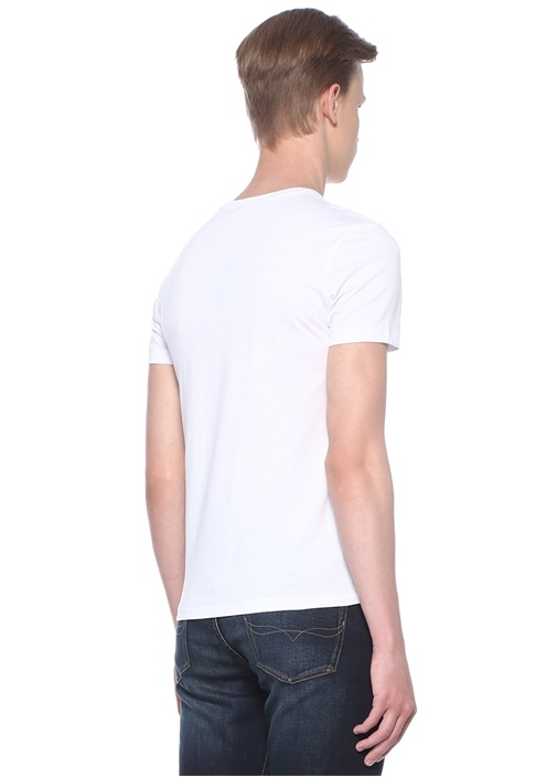 Custom Slim Fit Beyaz Logo Baskılı Basic T-shirt