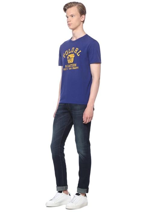 Lacivert Sarı Baskılı Çift Taraflı Basic T-shirt