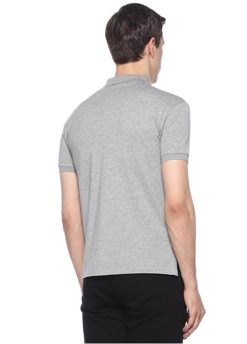 Gri Logo Nakışlı Polo Yaka T-shirt