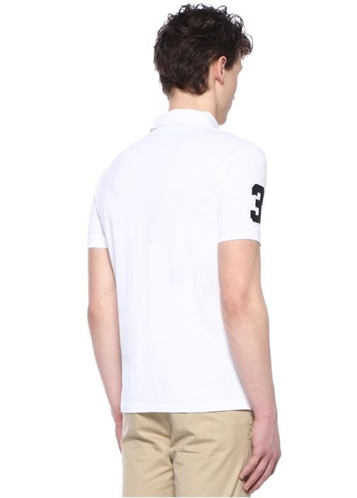 Custom Slim Fit Beyaz Polo Yaka Logolu T-shirt