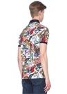 Custom Slim Fit Polo Yaka Karışık Baskılı T-shirt