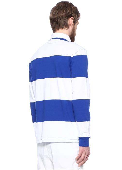 Beyaz Lacivert Polo Yaka Çizgili Sweatshirt