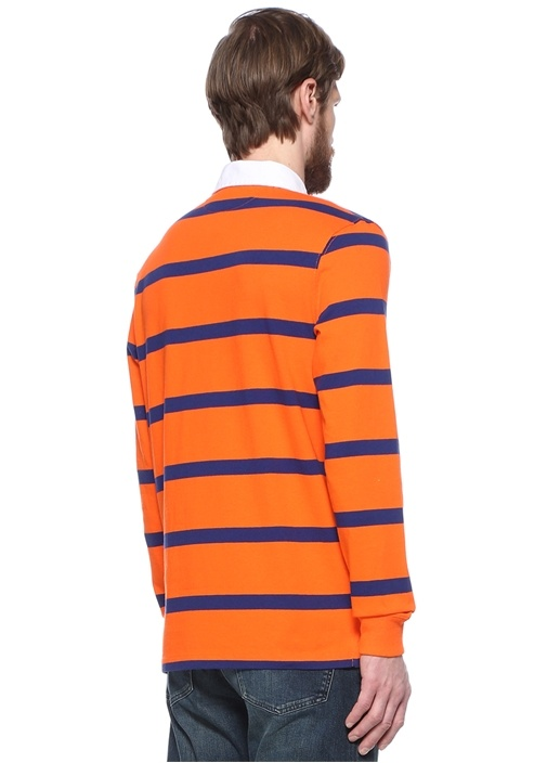 Turuncu Logo Nakışlı Polo Yaka Sweatshirt